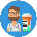 blue icon with doctor and pill bottle